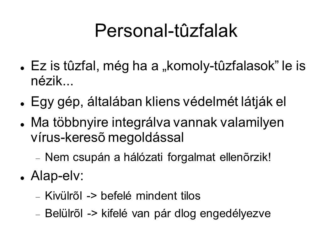 Personal-tûzfalak mûködése Csomagokat általában kapcsolatonként kezelik, szûrik (tiltás, engedélyezés) Kimenõ kapcsolatokat programokhoz, és ezen keresztül felhasználókhoz kötik.