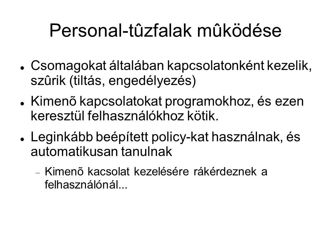 Personal-tûzfalak mûködése Csomagokat általában kapcsolatonként kezelik, szûrik (tiltás, engedélyezés) Kimenõ kapcsolatokat programokhoz, és ezen kere