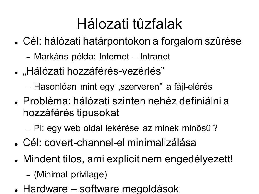 """Hálozati tûzfalak Cél: hálózati határpontokon a forgalom szûrése  Markáns példa: Internet – Intranet """"Hálózati hozzáférés-vezérlés""""  Hasonlóan mint"""