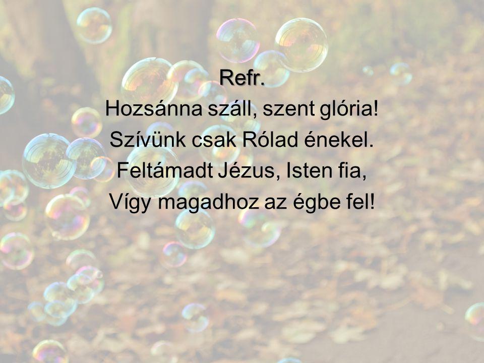 Refr. Hozsánna száll, szent glória! Szívünk csak Rólad énekel. Feltámadt Jézus, Isten fia, Vígy magadhoz az égbe fel!