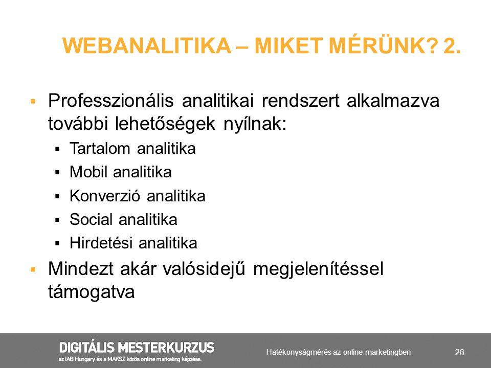 28  Professzionális analitikai rendszert alkalmazva további lehetőségek nyílnak:  Tartalom analitika  Mobil analitika  Konverzió analitika  Socia