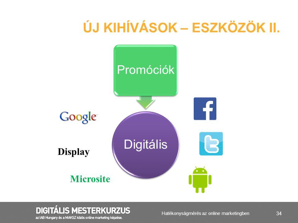 34 ÚJ KIHÍVÁSOK – ESZKÖZÖK II. Digitális Promóciók Display Microsite Hatékonyságmérés az online marketingben