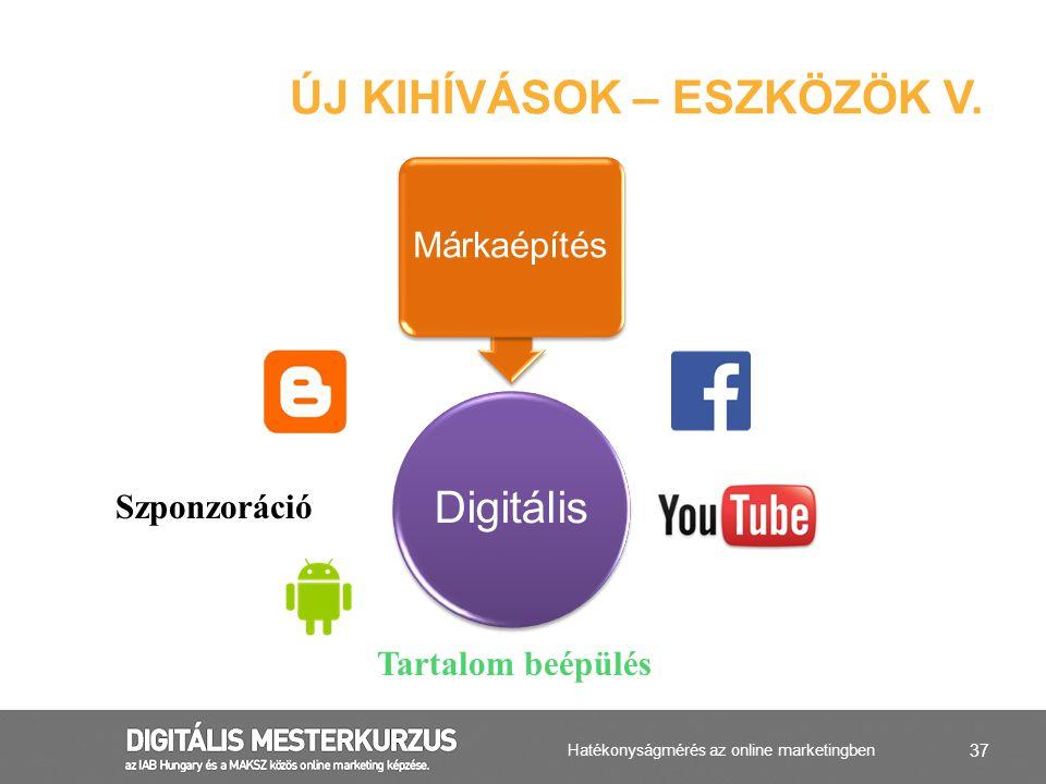 37 ÚJ KIHÍVÁSOK – ESZKÖZÖK V. Digitális Márkaépítés Szponzoráció Tartalom beépülés Hatékonyságmérés az online marketingben