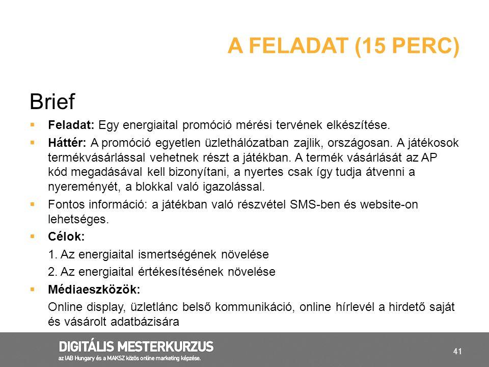 41 Brief  Feladat: Egy energiaital promóció mérési tervének elkészítése.  Háttér: A promóció egyetlen üzlethálózatban zajlik, országosan. A játékoso