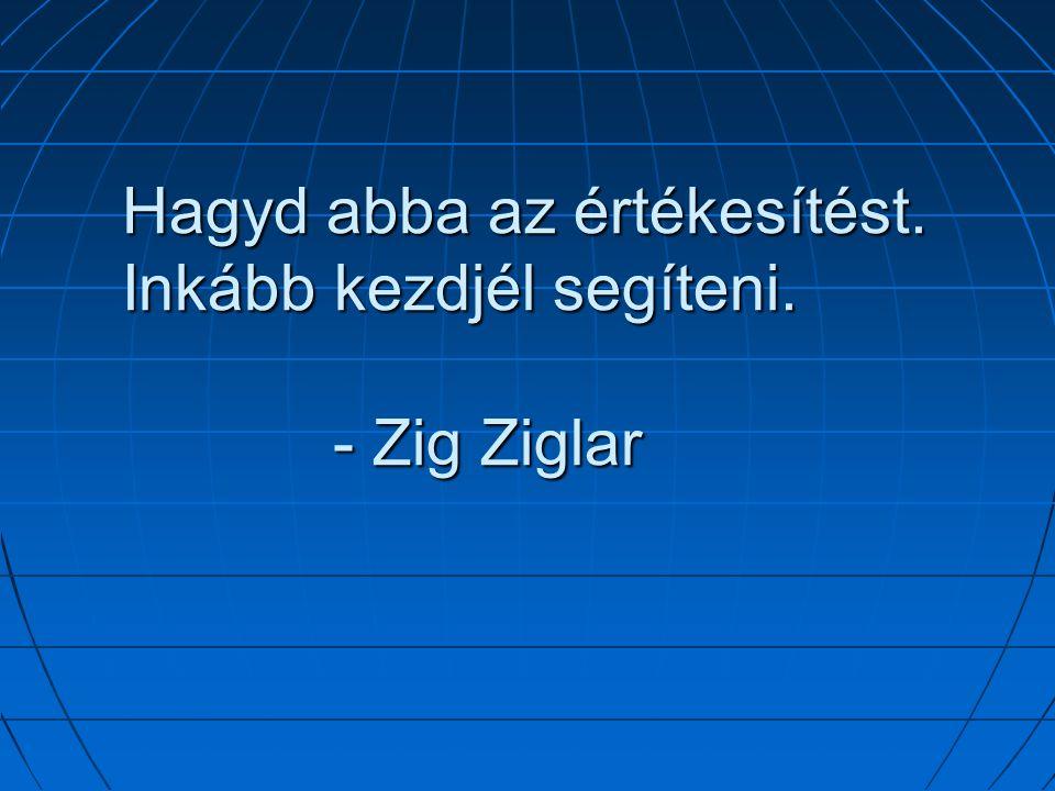 Hagyd abba az értékesítést. Inkább kezdjél segíteni. - Zig Ziglar