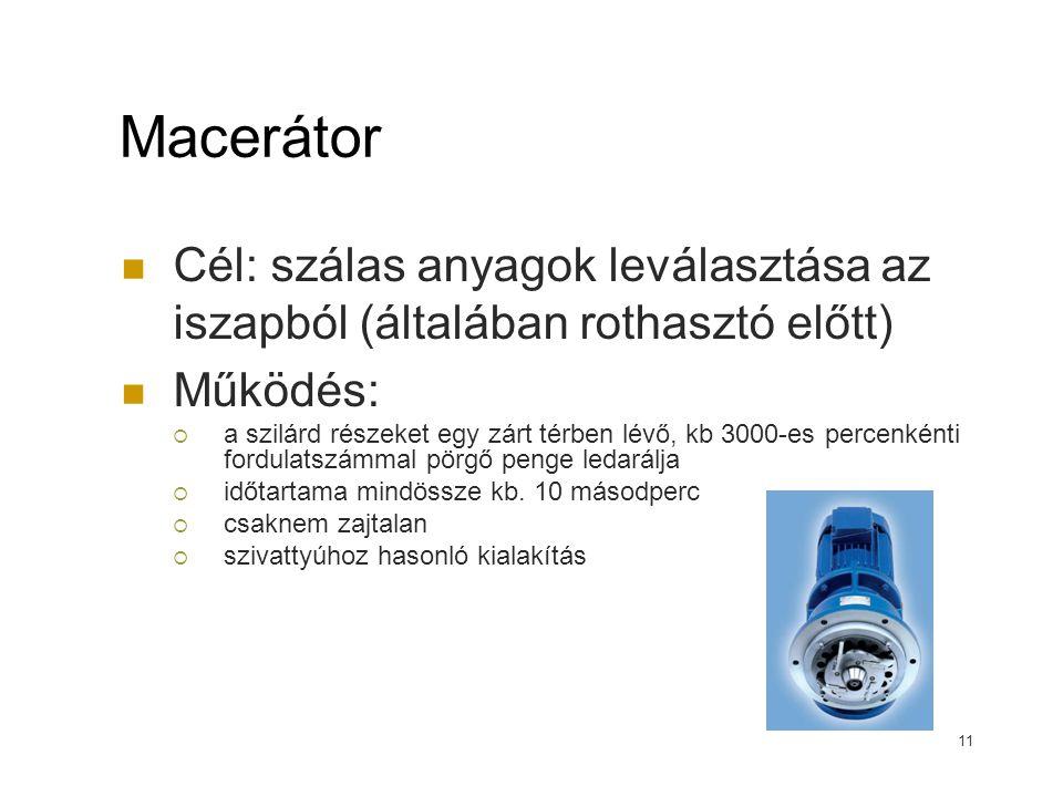 Macerátor Cél: szálas anyagok leválasztása az iszapból (általában rothasztó előtt) Működés:  a szilárd részeket egy zárt térben lévő, kb 3000-es perc