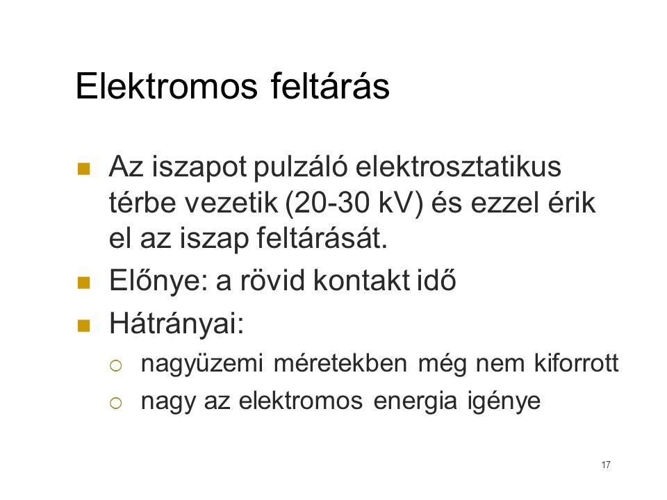 Elektromos feltárás Az iszapot pulzáló elektrosztatikus térbe vezetik (20-30 kV) és ezzel érik el az iszap feltárását. Előnye: a rövid kontakt idő Hát