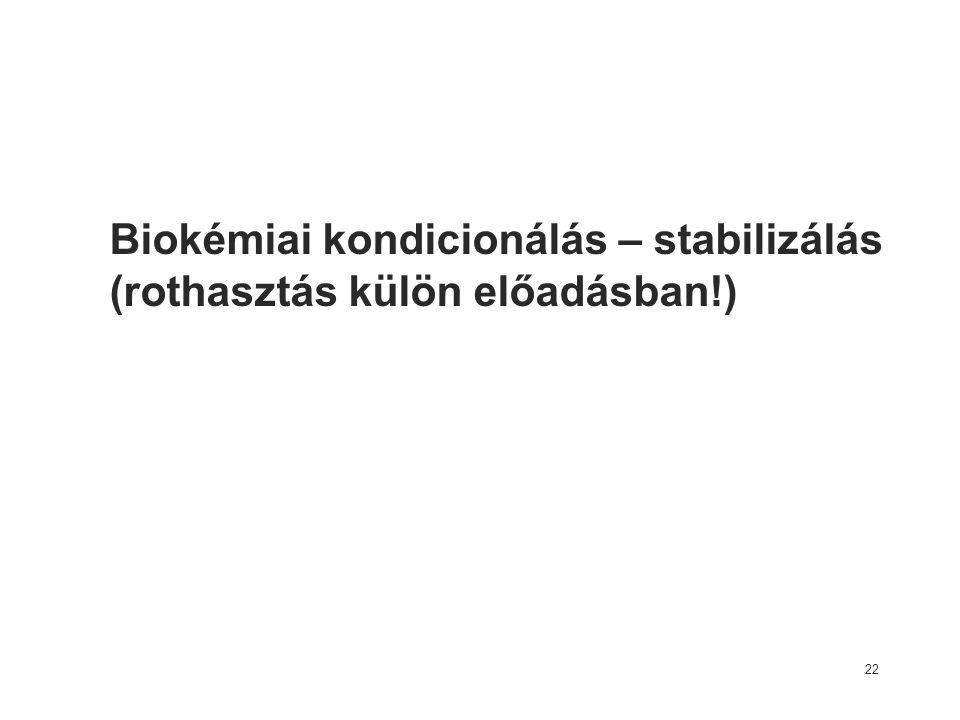 Biokémiai kondicionálás – stabilizálás (rothasztás külön előadásban!) 22