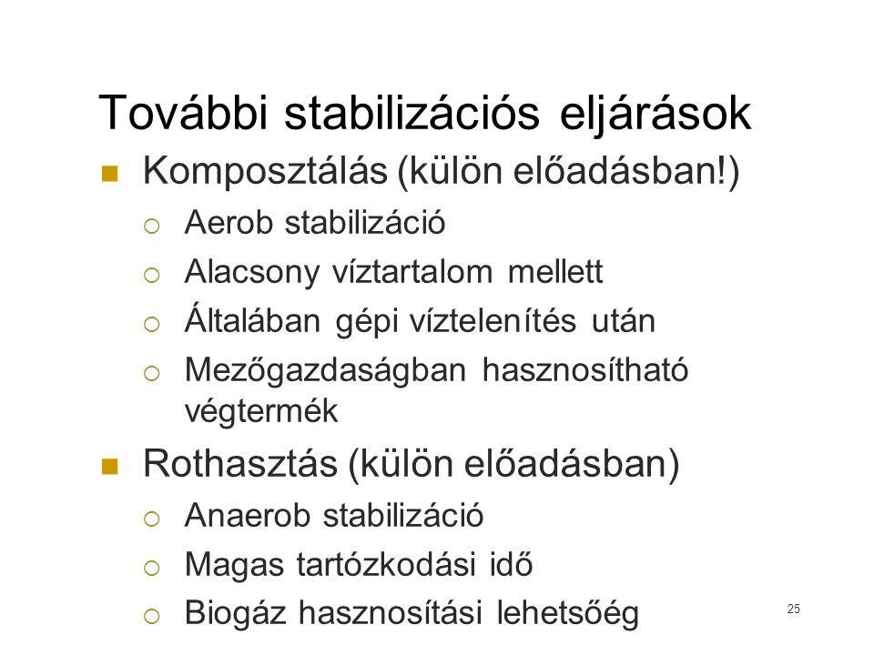 További stabilizációs eljárások Komposztálás (külön előadásban!)  Aerob stabilizáció  Alacsony víztartalom mellett  Általában gépi víztelenítés utá