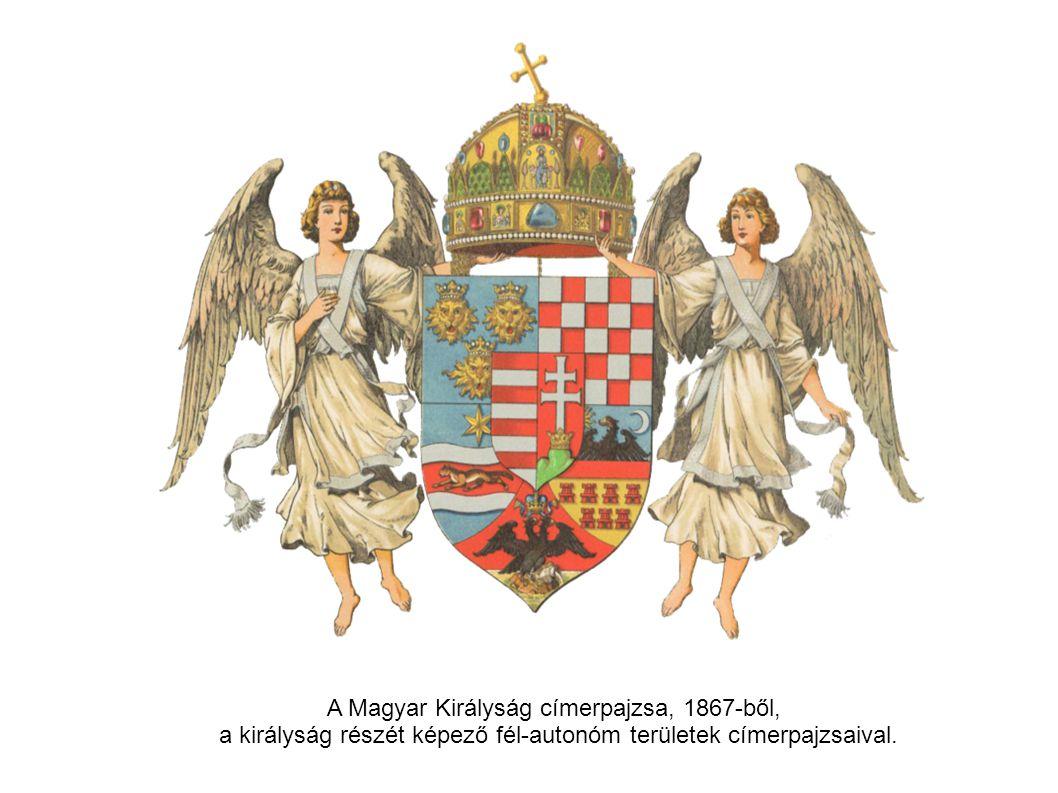 A Magyar Királyság címerpajzsa, 1867-ből, a királyság részét képező fél-autonóm területek címerpajzsaival.