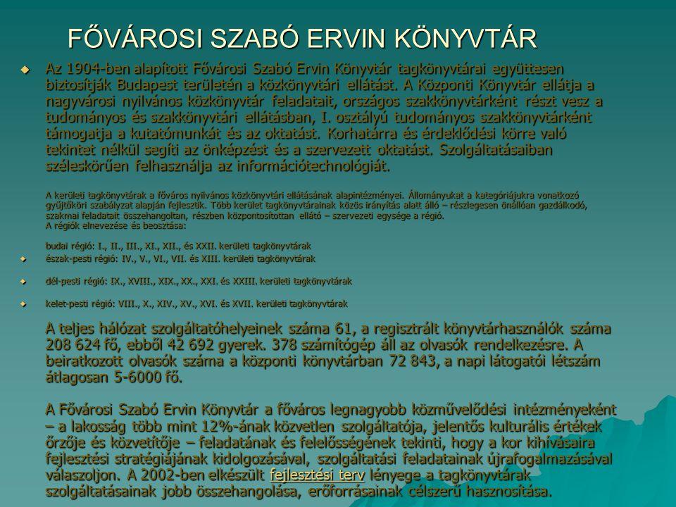 FŐVÁROSI SZABÓ ERVIN KÖNYVTÁR  Az 1904-ben alapított Fővárosi Szabó Ervin Könyvtár tagkönyvtárai együttesen biztosítják Budapest területén a közkönyv