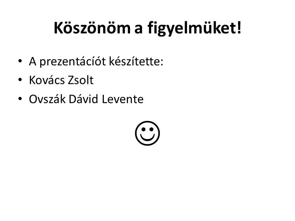 Köszönöm a figyelmüket! A prezentácíót készítette: Kovács Zsolt Ovszák Dávid Levente