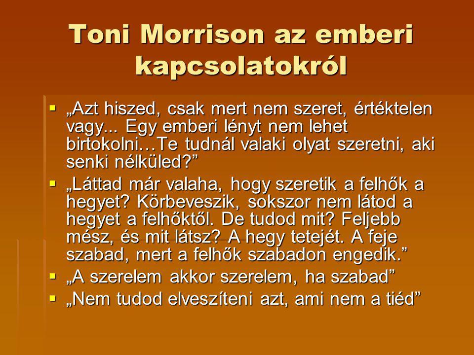"""Toni Morrison az emberi kapcsolatokról  """"Azt hiszed, csak mert nem szeret, értéktelen vagy... Egy emberi lényt nem lehet birtokolni…Te tudnál valaki"""