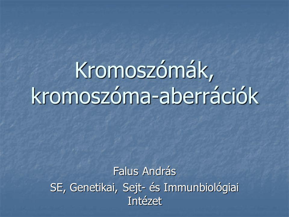 Kromoszómák, kromoszóma-aberrációk Falus András SE, Genetikai, Sejt- és Immunbiológiai Intézet