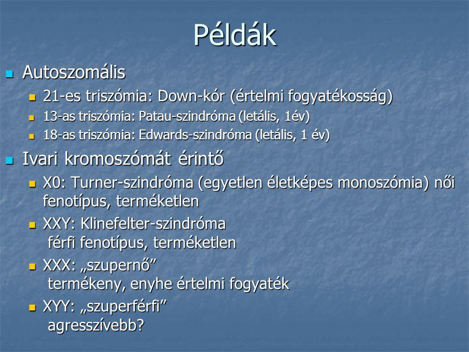 """Példák Autoszomális Autoszomális 21-es triszómia: Down-kór (értelmi fogyatékosság) 21-es triszómia: Down-kór (értelmi fogyatékosság) 13-as triszómia: Patau-szindróma (letális, 1év) 13-as triszómia: Patau-szindróma (letális, 1év) 18-as triszómia: Edwards-szindróma (letális, 1 év) 18-as triszómia: Edwards-szindróma (letális, 1 év) Ivari kromoszómát érintő Ivari kromoszómát érintő X0: Turner-szindróma (egyetlen életképes monoszómia) női fenotípus, terméketlen X0: Turner-szindróma (egyetlen életképes monoszómia) női fenotípus, terméketlen XXY: Klinefelter-szindróma férfi fenotípus, terméketlen XXY: Klinefelter-szindróma férfi fenotípus, terméketlen XXX: """"szupernő termékeny, enyhe értelmi fogyaték XXX: """"szupernő termékeny, enyhe értelmi fogyaték XYY: """"szuperférfi agresszívebb."""
