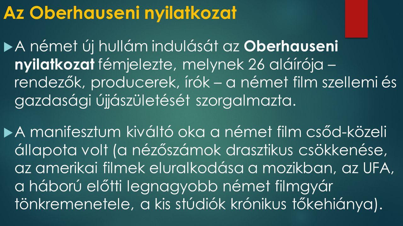 Az Oberhauseni nyilatkozat  A német új hullám indulását az Oberhauseni nyilatkozat fémjelezte, melynek 26 aláírója – rendezők, producerek, írók – a n