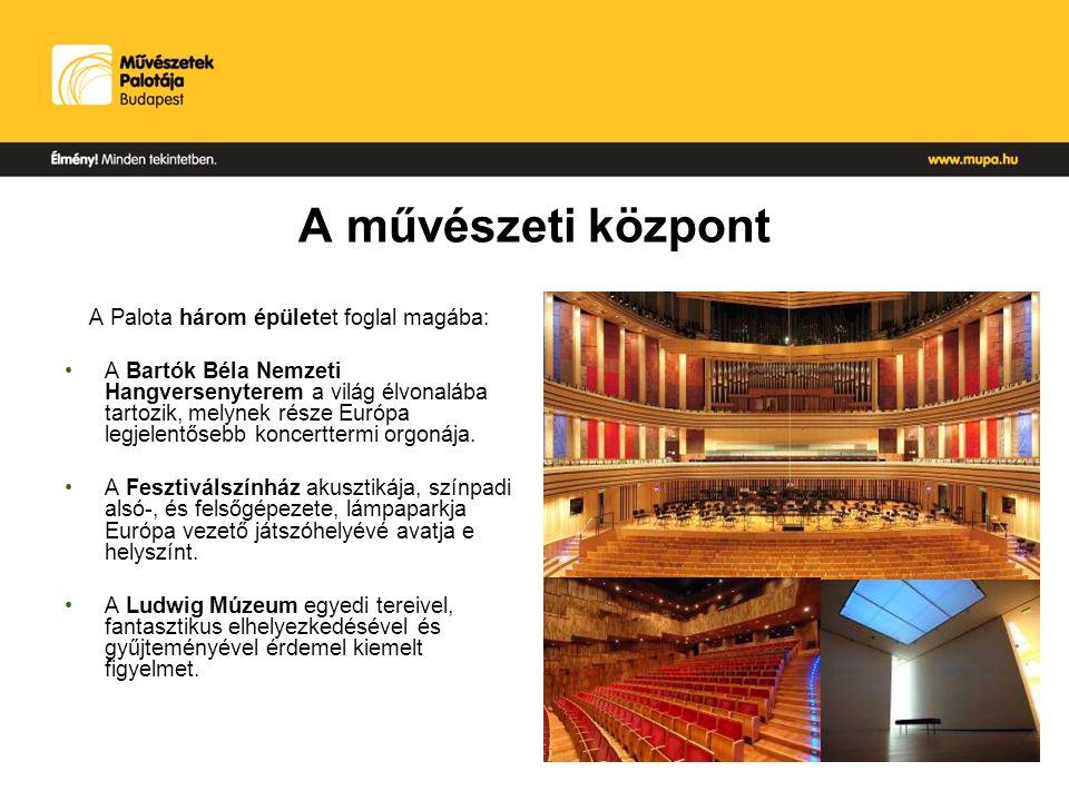 A művészeti központ A Palota három épületet foglal magába: A Bartók Béla Nemzeti Hangversenyterem a világ élvonalába tartozik, melynek része Európa legjelentősebb koncerttermi orgonája.