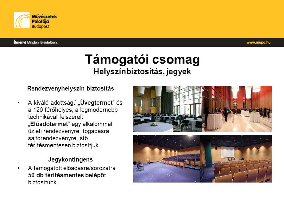 Támogatói csomag Megjelenések Teljes oldalas (1/1) hirdetés: MÜPA Magazin – 15.000 pld, A/4, 64 oldal, irkatűzött, kéthavi kiadvány.