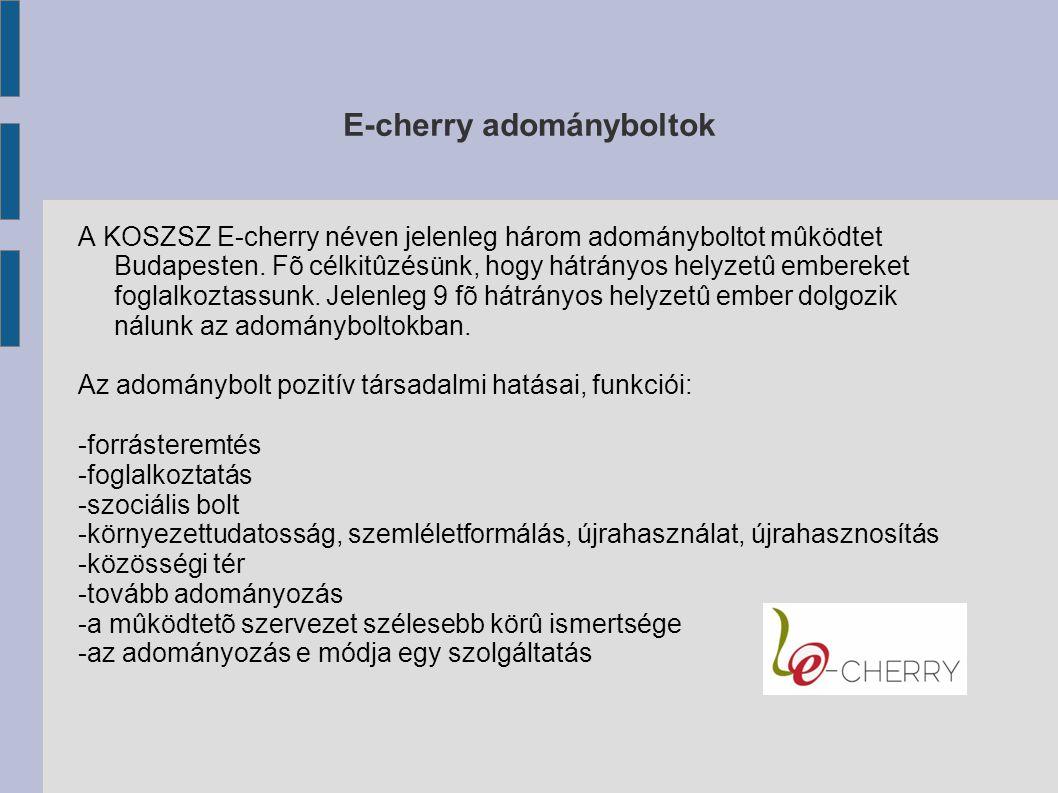 E-cherry adományboltok A KOSZSZ E-cherry néven jelenleg három adományboltot mûködtet Budapesten.