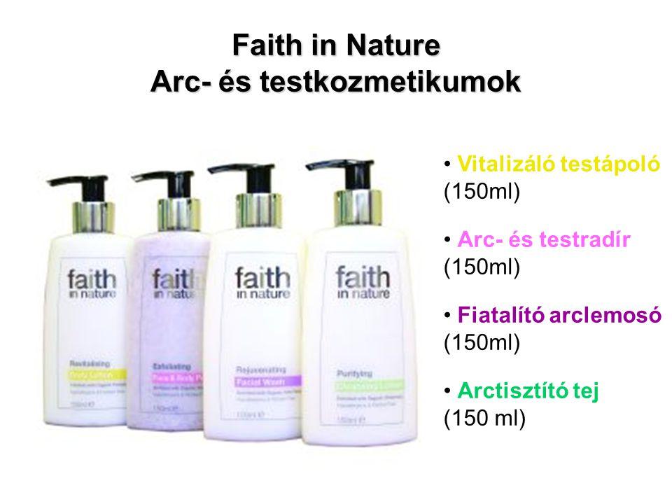 Faith in Nature Arc- és testkozmetikumok Vitalizáló testápoló (150ml) Arc- és testradír (150ml) Fiatalító arclemosó (150ml) Arctisztító tej (150 ml)