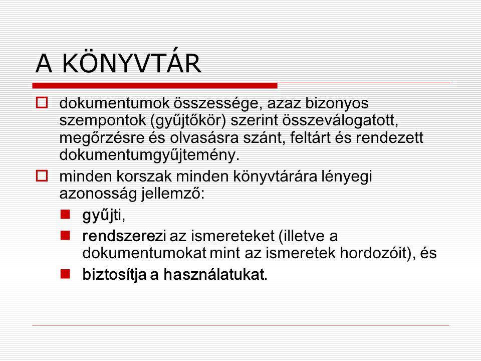 Dokumentumszolgáltatás  Helybeni használat  Kölcsönzés  Könyvtárközi dokumentum-ellátás.