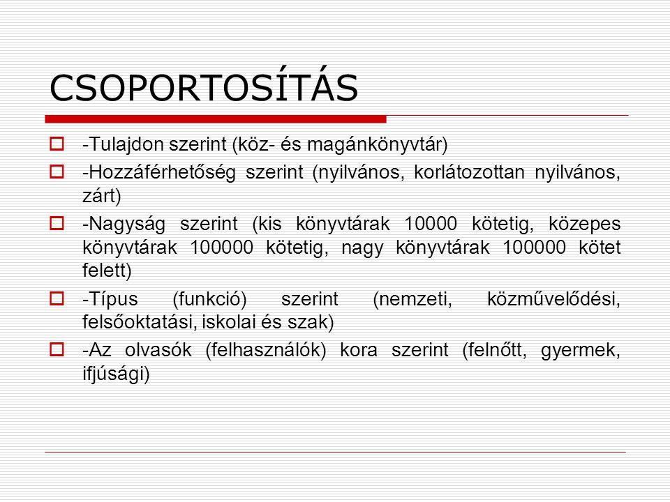 CSOPORTOSÍTÁS  -Tulajdon szerint (köz- és magánkönyvtár)  -Hozzáférhetőség szerint (nyilvános, korlátozottan nyilvános, zárt)  -Nagyság szerint (ki