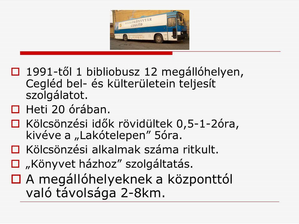  1991-től 1 bibliobusz 12 megállóhelyen, Cegléd bel- és külterületein teljesít szolgálatot.  Heti 20 órában.  Kölcsönzési idők rövidültek 0,5-1-2ór
