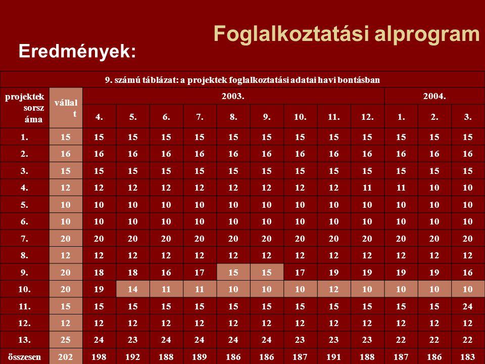 Foglalkoztatási alprogram Eredmények: 9.