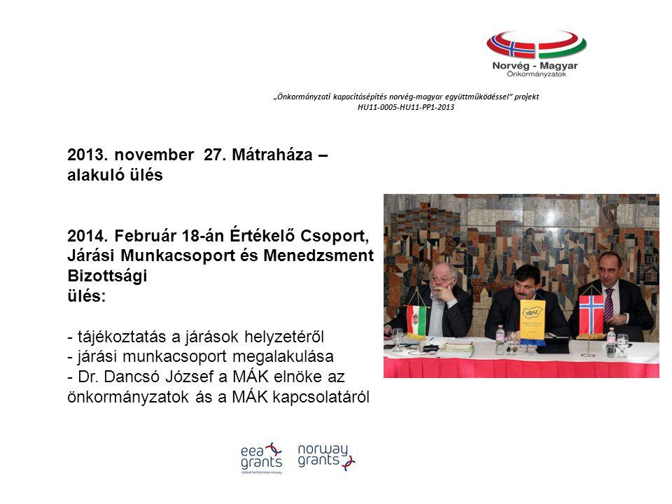 """""""Önkormányzati kapacitásépítés norvég‐magyar együttműködéssel projekt HU11-0005-HU11-PP1-2013 2013."""