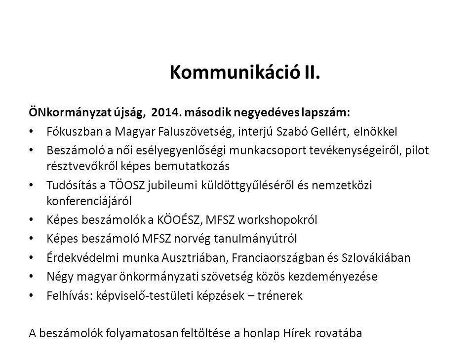 Kommunikáció II.ÖNkormányzat újság, 2014.