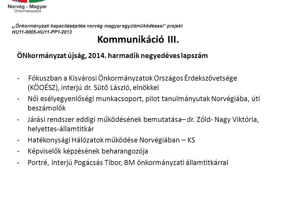 Kommunikáció III.ÖNkormányzat újság, 2014.