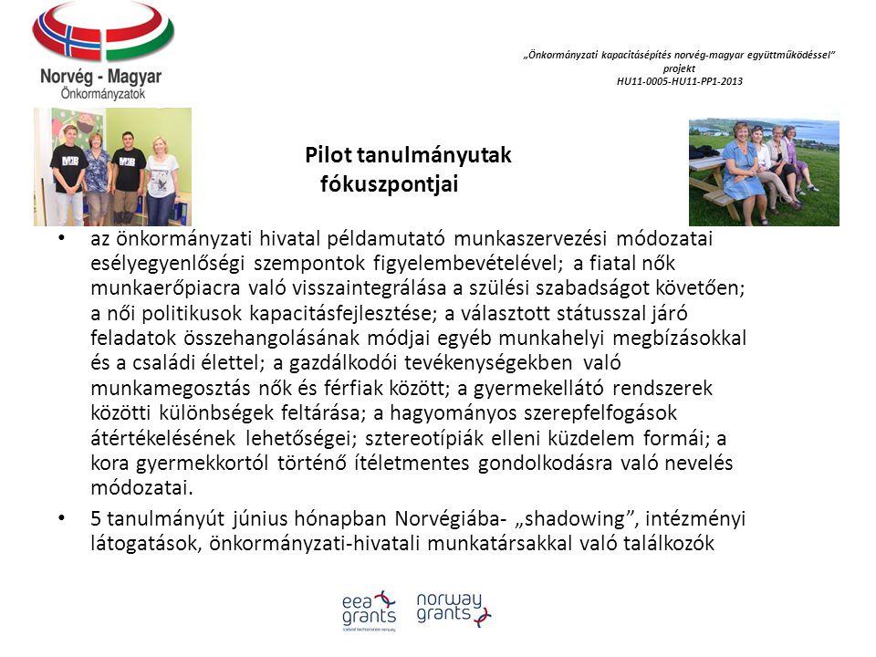 """""""Önkormányzati kapacitásépítés norvég‐magyar együttműködéssel projekt HU11-0005-HU11-PP1-2013 Pilot tanulmányutak fókuszpontjai az önkormányzati hivatal példamutató munkaszervezési módozatai esélyegyenlőségi szempontok figyelembevételével; a fiatal nők munkaerőpiacra való visszaintegrálása a szülési szabadságot követően; a női politikusok kapacitásfejlesztése; a választott státusszal járó feladatok összehangolásának módjai egyéb munkahelyi megbízásokkal és a családi élettel; a gazdálkodói tevékenységekben való munkamegosztás nők és férfiak között; a gyermekellátó rendszerek közötti különbségek feltárása; a hagyományos szerepfelfogások átértékelésének lehetőségei; sztereotípiák elleni küzdelem formái; a kora gyermekkortól történő ítéletmentes gondolkodásra való nevelés módozatai."""