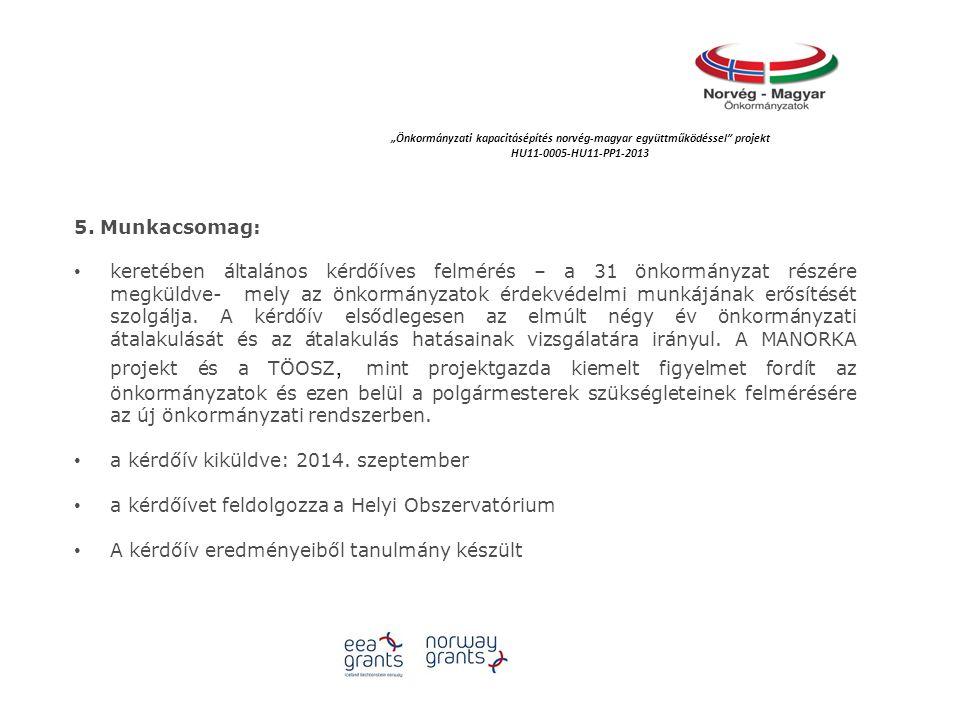 """""""Önkormányzati kapacitásépítés norvég‐magyar együttműködéssel projekt HU11-0005-HU11-PP1-2013 5."""