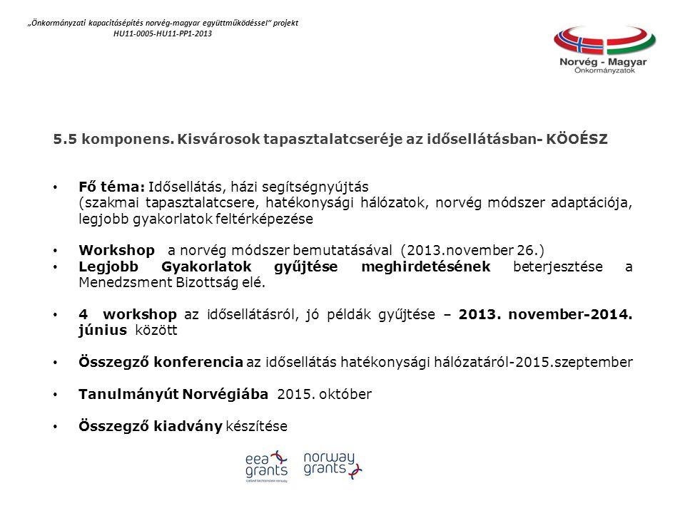 """""""Önkormányzati kapacitásépítés norvég‐magyar együttműködéssel projekt HU11-0005-HU11-PP1-2013 5.5 komponens."""