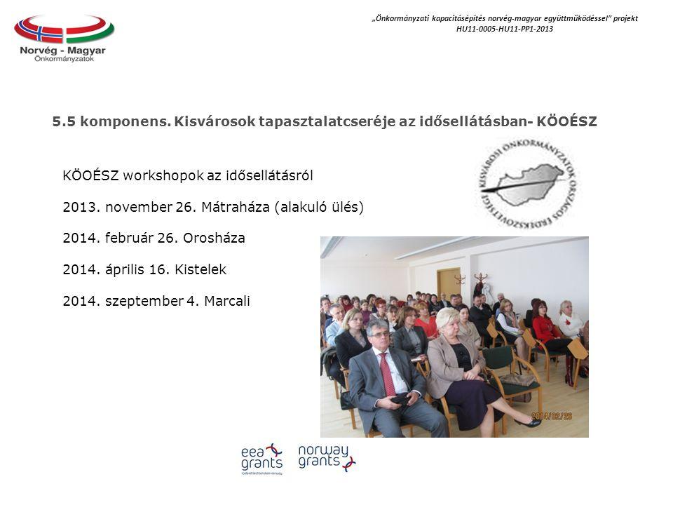 """""""Önkormányzati kapacitásépítés norvég‐magyar együttműködéssel projekt HU11-0005-HU11-PP1-2013 KÖOÉSZ workshopok az idősellátásról 2013."""