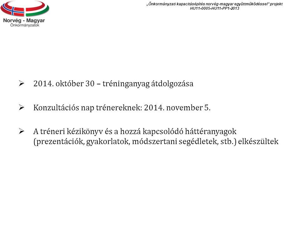  2014.október 30 – tréninganyag átdolgozása  Konzultációs nap trénereknek: 2014.
