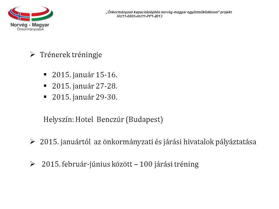 """""""Önkormányzati kapacitásépítés norvég ‐ magyar együttműködéssel projekt HU11-0005-HU11-PP1-2013  Trénerek tréningje  2015."""