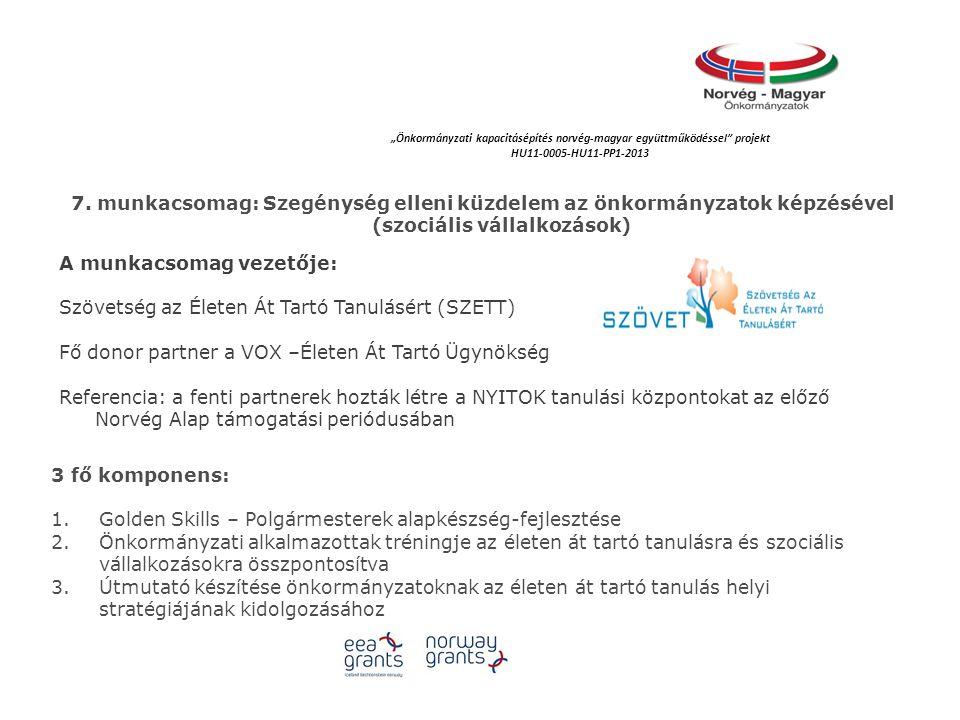 """""""Önkormányzati kapacitásépítés norvég‐magyar együttműködéssel projekt HU11-0005-HU11-PP1-2013 7."""