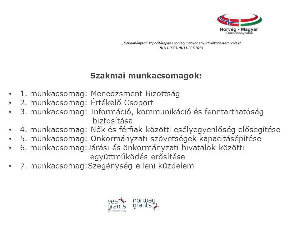 Szakmai munkacsomagok: 1.munkacsomag: Menedzsment Bizottság 2.