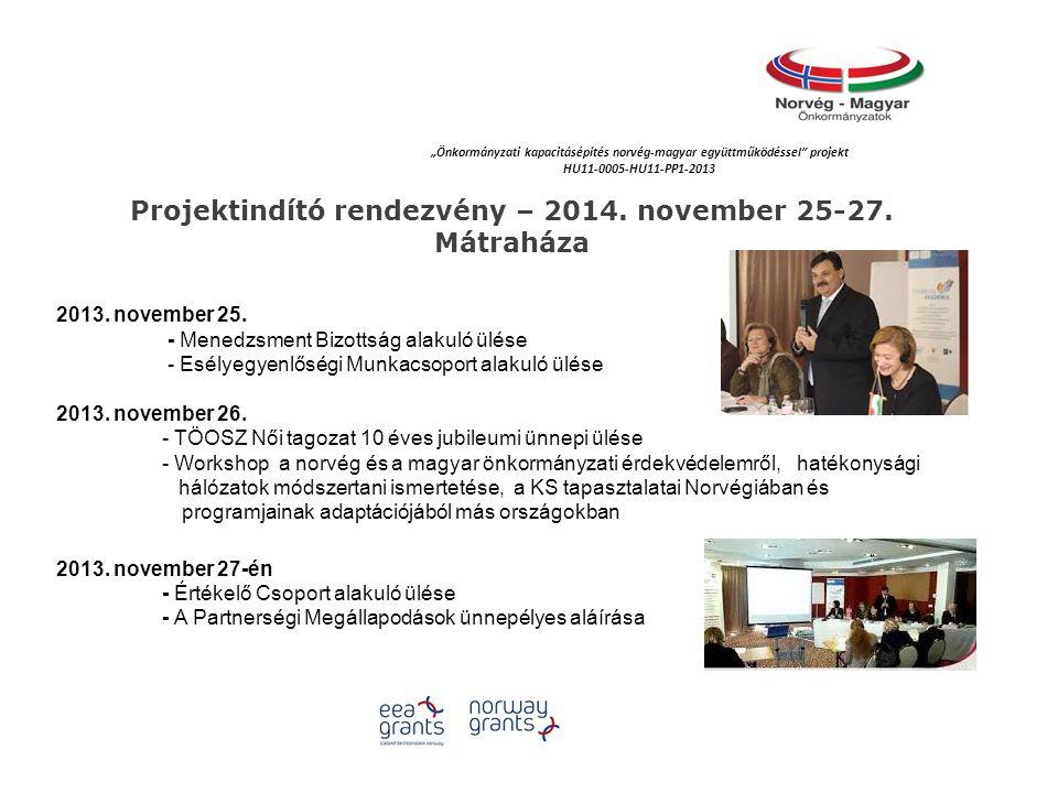 """""""Önkormányzati kapacitásépítés norvég‐magyar együttműködéssel projekt HU11-0005-HU11-PP1-2013 Projektindító rendezvény – 2014."""