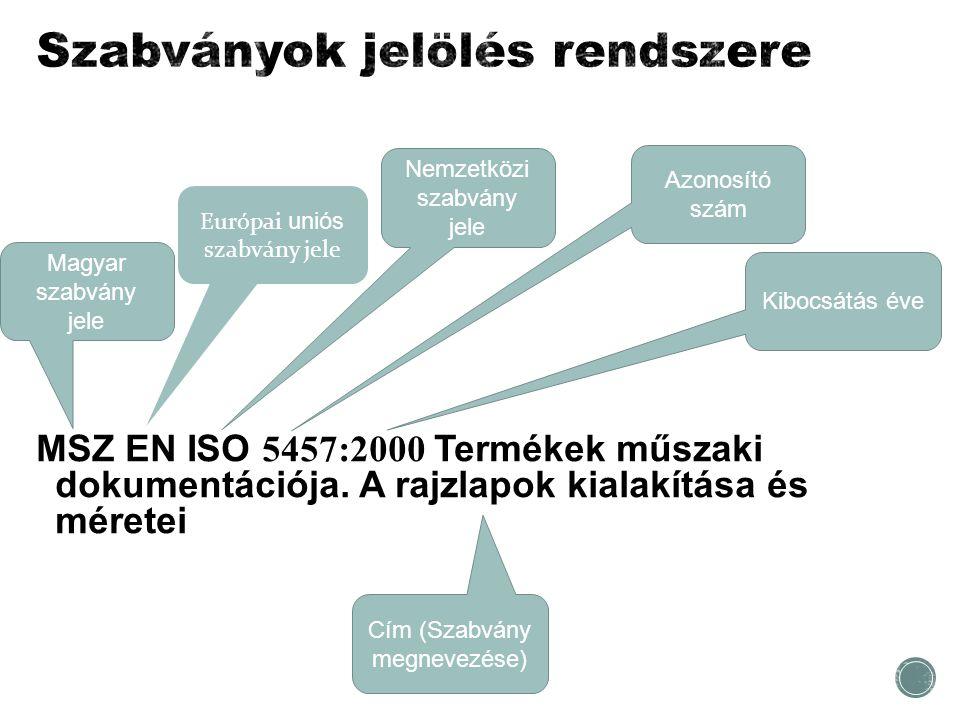 MSZ EN ISO 5457:2000 Termékek műszaki dokumentációja. A rajzlapok kialakítása és méretei Magyar szabvány jele Nemzetközi szabvány jele Azonosító szám