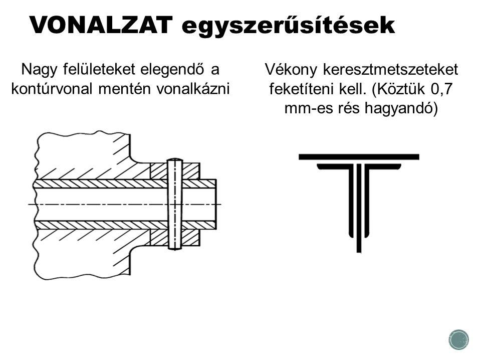 VONALZAT egyszerűsítések Nagy felületeket elegendő a kontúrvonal mentén vonalkázni Vékony keresztmetszeteket feketíteni kell. (Köztük 0,7 mm-es rés ha