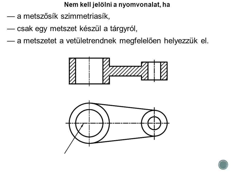 Nem kell jelölni a nyomvonalat, ha — a metszősík szimmetriasík, — csak egy metszet készül a tárgyról, — a metszetet a vetületrendnek megfelelően helye