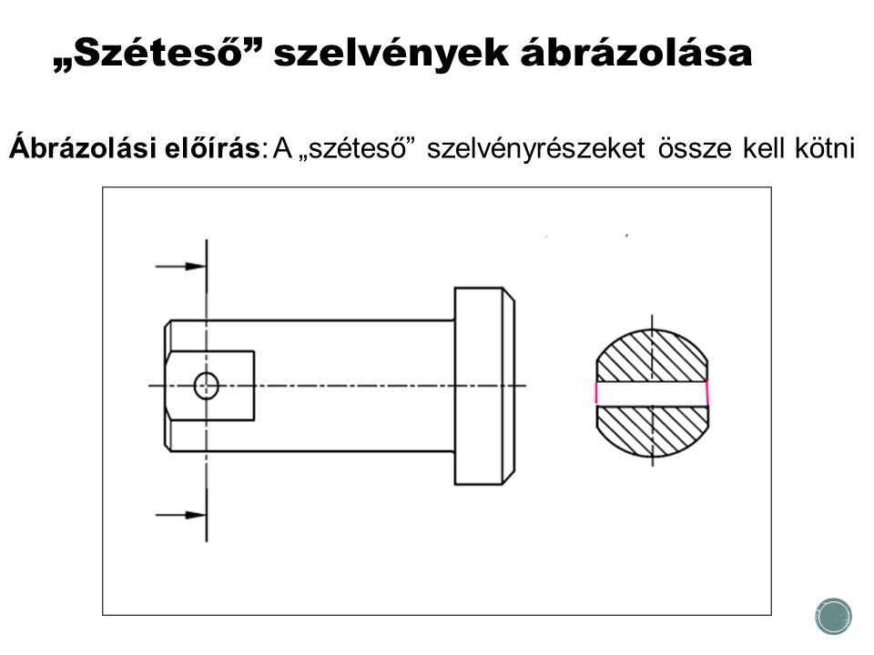 """""""Széteső"""" szelvények ábrázolása Ábrázolási előírás: A """"széteső"""" szelvényrészeket össze kell kötni"""