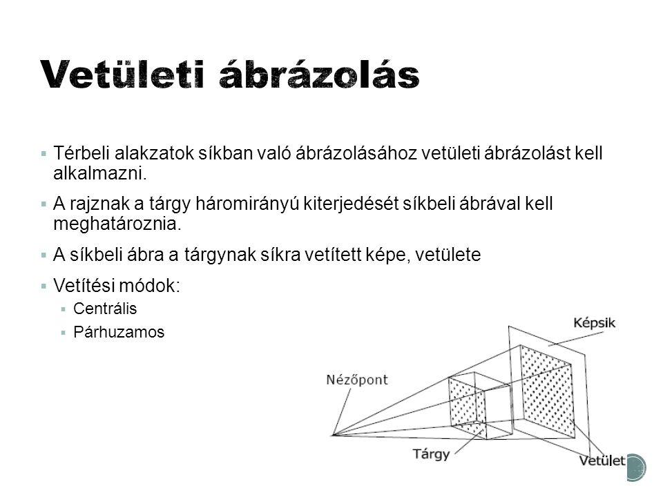  Térbeli alakzatok síkban való ábrázolásához vetületi ábrázolást kell alkalmazni.  A rajznak a tárgy háromirányú kiterjedését síkbeli ábrával kell m