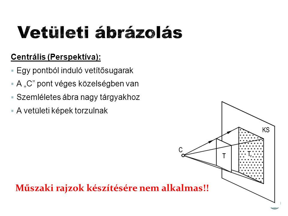 """Centrális (Perspektíva):  Egy pontból induló vetítősugarak  A """"C pont véges közelségben van  Szemléletes ábra nagy tárgyakhoz  A vetületi képek torzulnak Műszaki rajzok készítésére nem alkalmas!!"""