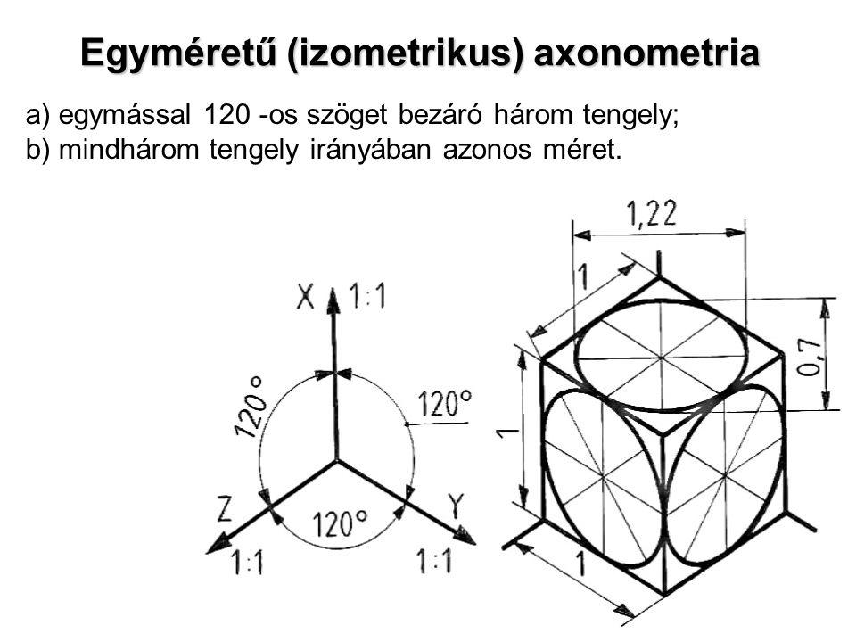Egyméretű (izometrikus) axonometria a) egymással 120 -os szöget bezáró három tengely; b) mindhárom tengely irányában azonos méret.
