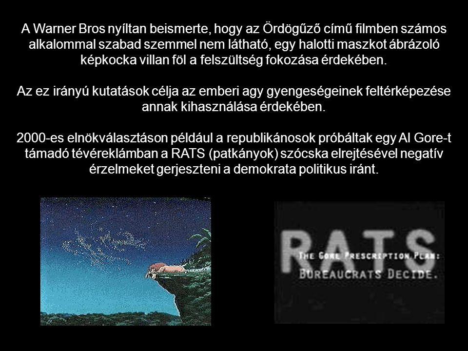 A Warner Bros nyíltan beismerte, hogy az Ördögűző című filmben számos alkalommal szabad szemmel nem látható, egy halotti maszkot ábrázoló képkocka vil
