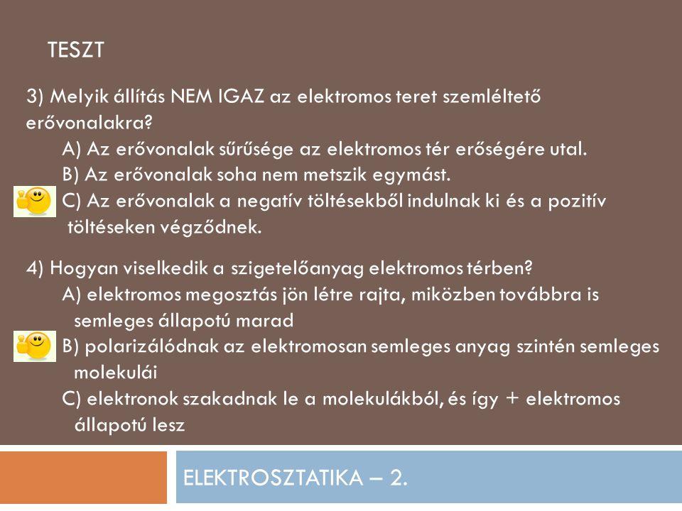 ELEKTROSZTATIKA – 2.TESZT 3) Melyik állítás NEM IGAZ az elektromos teret szemléltető erővonalakra.