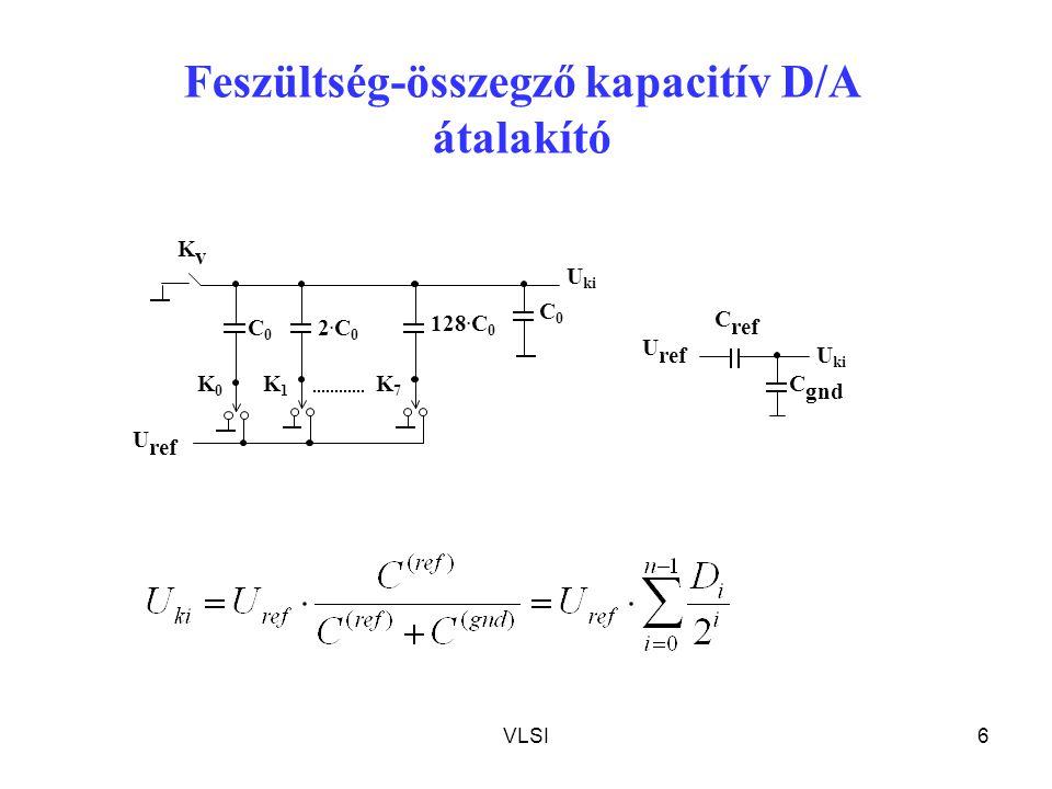 VLSI7 R/2R létrás D/A átalakító R R1R1 - + U ki 2R R I ref     1 0 1 2 n i i i refki D R R UU U ref R U ki R R R R Ellenállás-osztós D/A átalakító Bináris fa Virtuális föld